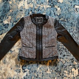 Tweed and Faux-Leather Jacket